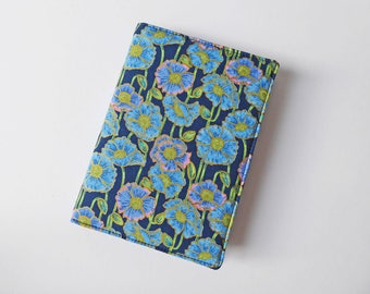 A6 Notebook Cover, Fabric Book Jacket, Diary Cover, A6 Planner Cover, Removable Book Sleeve, Blue Poppy Print, Free UK Shipping, UK Seller