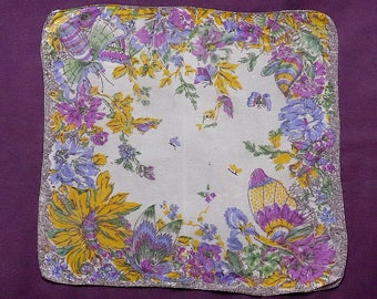 Handkerchief, vintage.   Floral with 4 flying insects, in shades of green, purples, yellow, blue & black, c 1930's.