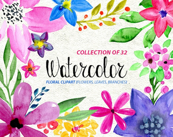Watercolor Flower Clipart 32 Bright Flowers Branches Leaves Watercolour Transparent Aquarelle Digital Floral Free Commercial Use PNG From