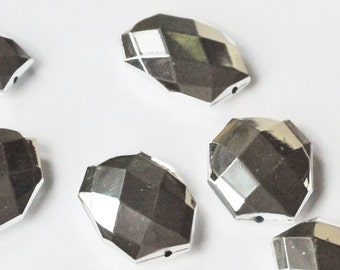 Metallic Silver, Faceted Acrylic Beads, Chunky Beads, 34x24mm, Acrylic Flat Polygon, Nugget Beads, 10 Pcs, Fast Shipping from USA