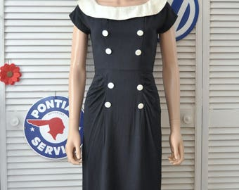 Vintage 50s Womens Daywear Dress Sharp Dressed Admirals Wife Dark Navy Blue/black White Trim Georgia Wells Distressed Costume as is Small
