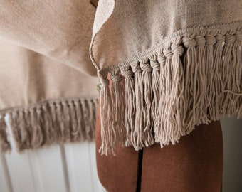 """Extra long natural beige table runner/scarf with fringe   17"""" x 112"""""""