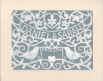 Woodland Wedding Gift,  Personalized Handcut Papercut Wall Art