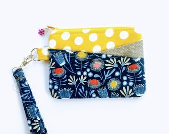Travel Passport Zipper Pouch Blue Flower Perfect Size With Two Slanted Pockets In Front & Key Swivel Fob