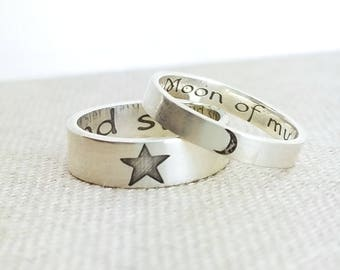 Personalized Ring Set · Moon of my life · My sun and stars · Wedding Rings · Game of Thrones · Khaleesi · Silver Ring · Wedding Band