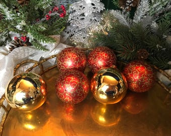Vintage Christmas, 1950s Christmas, Red & Gold, Set/6, Christmas, Shiny Brite, Christmas Decor, Vintage Ornament, Glass Ornaments, Vintage