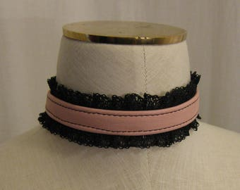 Pink Leather and Black Lace Choker