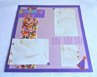 12 x 12 Premade scrapbook page, birthday girl themed scrapbook layout, rainbow sprinkles, birthday cake, hand stamped candles, party hats