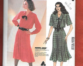 Vintage 1980's McCall's 2093 Misses' Dress With Gored Flared Skirt, By Liz Claiborne, Size 16, 18
