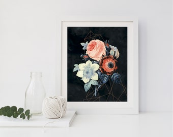 Geometric Botanical Floral Wall Art // Art Print //  Home Decor, Wall Art, Modern Home Decor, Floral Decor, Botanical Wall Art