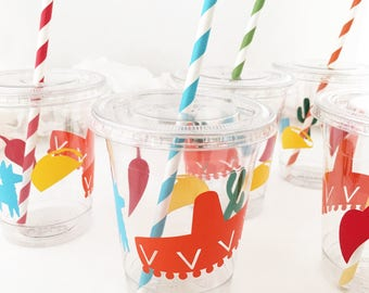 Fiesta Cups - Fiesta Party - Cactus Party - Cinco De Mayo Decorations - Mexican Party - Fiesta Baby Shower - Fiesta Birthday - Fiesta Favors