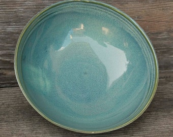 Pasta or Salad Bowl, 7 Inch, Ocean Green Drip, Natural Patina High Fire Stoneware, Hand Painted, Ready To Ship
