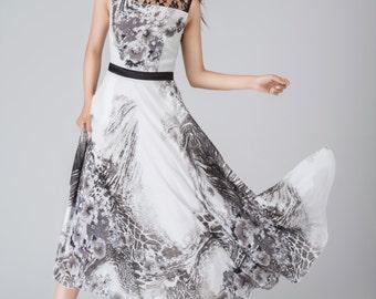 black and white chiffon dress, printed dress, sleeveless dress, fitted dress, flare dress, maxi dress, party dress, summer dress 1538