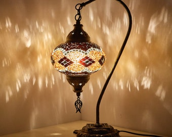 Turkish mosaic lamp etsy free shipping turkish moroccan handmade mosaic swan goose neck table desk bedside night accent lamp light lamp shade lampshade aloadofball Choice Image