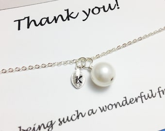 Bridesmaid bracelet - white pearl bracelet - personalized bracelet - girlfriend bracelet - gift for her