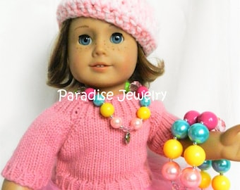 Doll and Me Jewelry Catholic Girls Chunky Bubblegum Bead Necklace and American Doll Necklace Mother Mary Pendant, Marian necklace