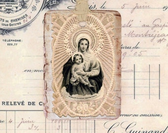 Antique French MaDonna and Child Gift Tags , Shabby Tags , Rustic Tags