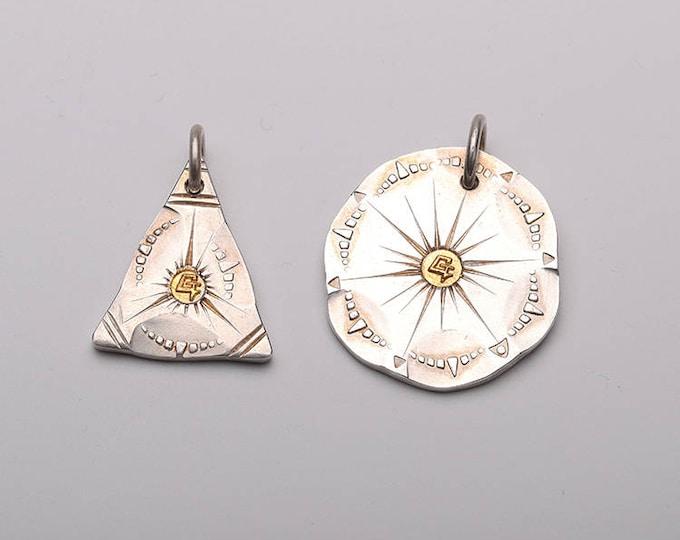 Geometric Pendant | Tribal Style Pendant | Ethnic Pendant | Silver Triangle Pendant | Silver Gold Pendant | Rustic Disc Pendant |Sun Jewelry