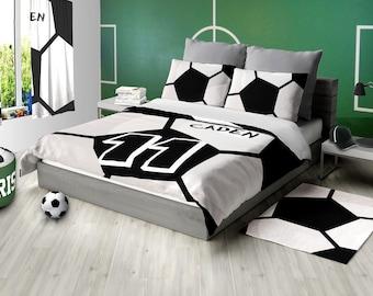 Custom Soccer Bedding, Soccer Comforter, Soccer Duvet, Personalized Soccer Bedding, Twin, Toddler, King, Queen, Nursery, Soccer Ball Teen