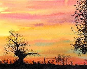 "Handmade art card ""Farmland"""