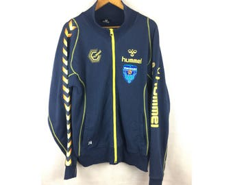 HUMMEL YOKOHAMA FC Long Sleeve Sweater Fully Zipper With Nice Embroidered Logo and Spell Out Logo and Patch Large Size