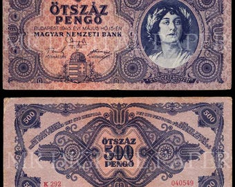 Hungary Pengo / Hungary Money / Digital Paper / Hungarian Currency / Antique Money / Antique Ephemera  / Digital Instant Download