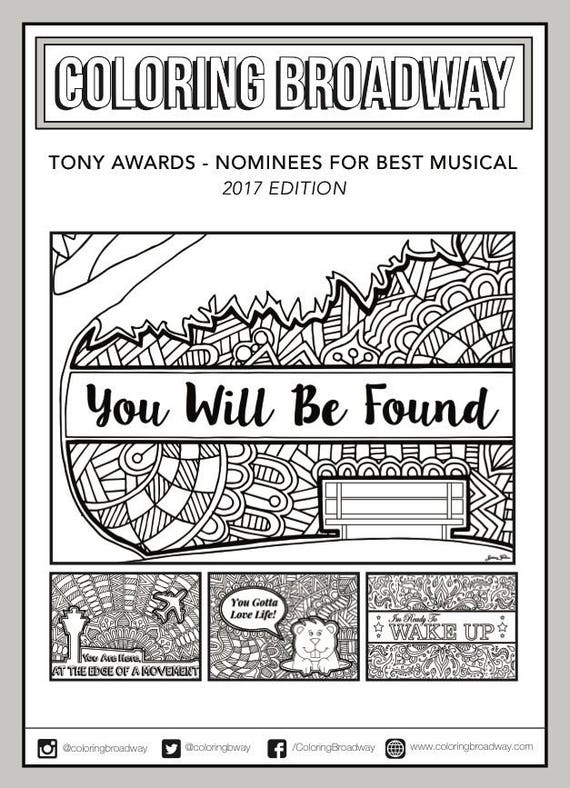 Tony Awards 2017 Coloring Set of 4 Broadway Musical