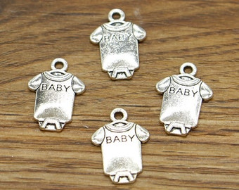 50pcs Baby Charms One Piece Outfit Charm Antique Silver Tone 12x18mm cf1817