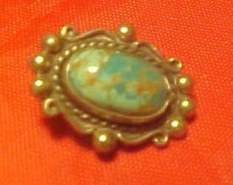 Turquoise Ear Clip One Sterling Silver Vintage 60s