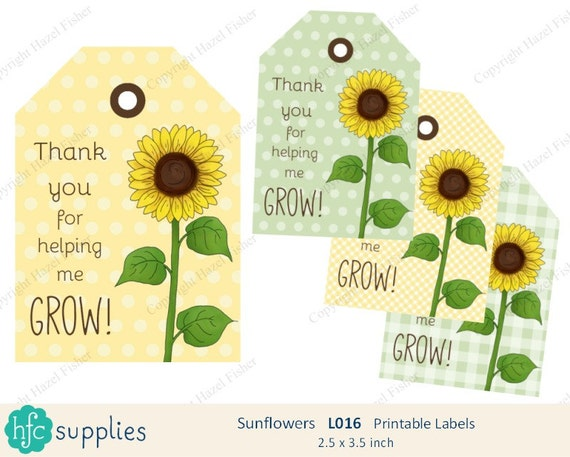 Sunflower Printable Labels Thank you for helping me Grow