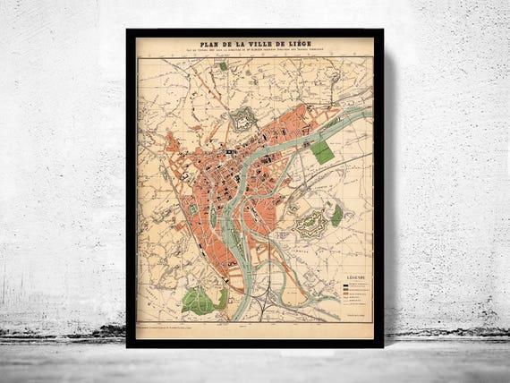old map of lige belgium 1880 vintage map