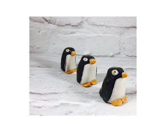 Hand made Penguin Trio, penguin gifts, penguin lovers, penguin ornaments, gifts for her, cute gift, ceramic ornament, handmade