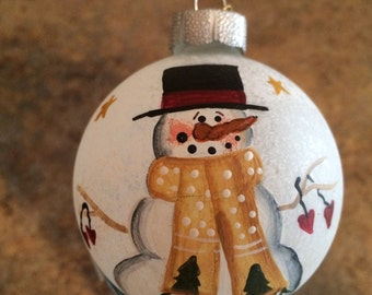 Frosted glass snowman ornament