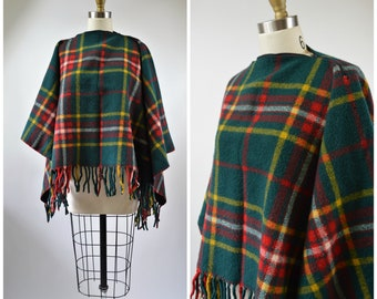 Vintage Pendleton Knockabout Plaid Wool Poncho Red Green and Yellow with Zipper Converts to Blanket Woven Wool with Fringe Warm and Cozy