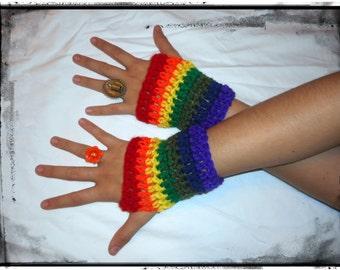 Rainbow Striped Wrist Warmers crochet Fingerless Gloves for writing driving texting smoking. Handmade Crochet Unisex Gay Pride Colors