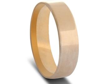 Men's Yellow Gold Wedding Ring- Flat Comfort Curve