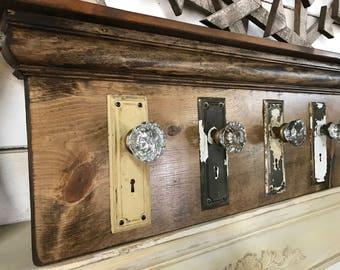 Architectural Salvage Coat Rack, Rustic Coat Rack, Antique Glass Door Knob Coat Rack, Up-Cycled Coat Rack, Re-purposed Coat Rack