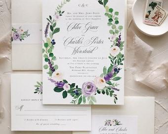 Elegant Wedding Invitations, Floral Wedding Invitation Set, Watercolor, Lilac, Lavender, Gray, Blush