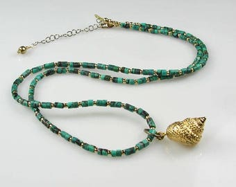 Turquoise Gemstone Necklace with Removable Gold Plated Shell Charm