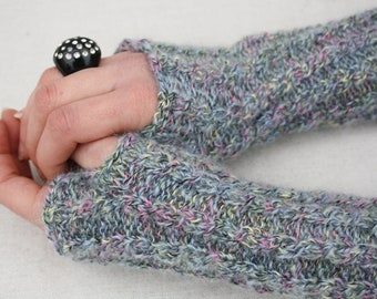 Knitted fingerless gloves Grey pink speckled gloves Knit wool cable gloves Arm warmers Ombre Wrist warmers Fingerless mittens Half fingers