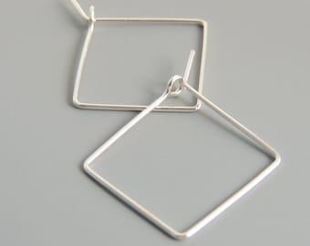 Square Paris Creolen Sterling Silber 3/4 Zoll Hoop Ohrringe einfache minimalistischen Ohrringe