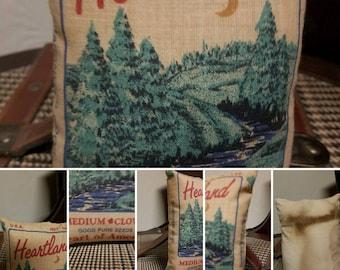 Primitive Handcrafted Heartland Medium Clover Mini Feedsack Pillow