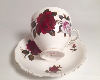 Red rose tea cup and saucer set vintage