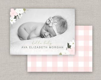 Ava Birth Announcement Template #24 for Photoshop: Instant Download