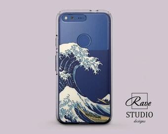 Great Wave Kanagawa wave case Google Pixel 2 case blue phone cover Japanese wave art Hokusai wave Pixel cases clear Katsushika Hokusai wave