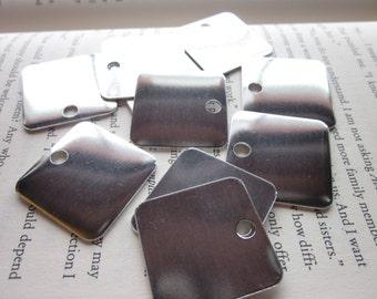 10 TUMBLED Aluminum 1.25 Inch Squares - 18 Gauge