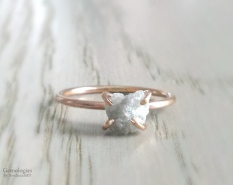 Raw Uncut Diamond Ring, Heart Shaped Diamond Engagement Ring, Custom Made Diamond Ring in 14K Gold or Sterling, April Birthstone Gift