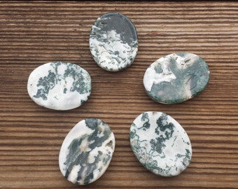 TREE AGATE Worry Stone Natural Stone Hand Carved Gemstone Worry Stone