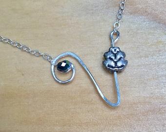 Vegan Necklace, Vegetarian Necklace, Vegan Jewelry, Vegetarian Jewelry, v with leaf necklace, vegan symbol, vegetarian, gift for vegan