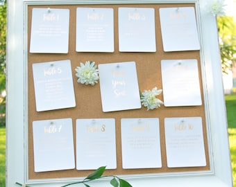 Ivory and Rose Gold Foil Seating Charts Handmade Wedding